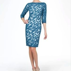 Tadoshi Shoji Blue Lace Sheath Cocktail Dress